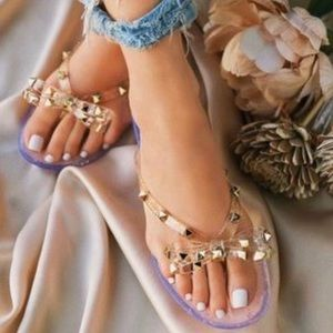 Shoes - Blush and white lace jelly thong Sandals